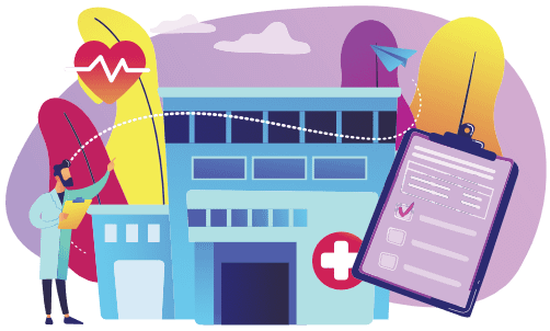 Graphic of doctor, hospital and healthcare items